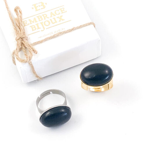 Ring zwarte obsidiaan edelsteen - ovaal horizontaal - zilver of goud stainless steel