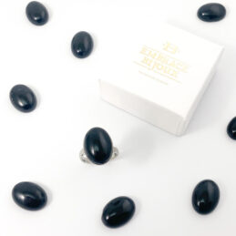 Ring zwarte obsidiaan edelsteen – ovaal verticaal – zilver stainless steel