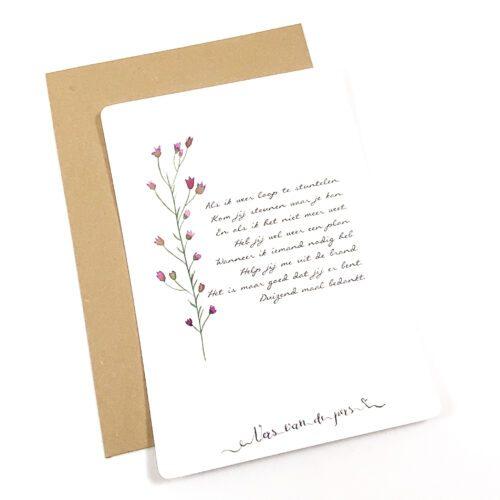 Wenskaart met gedicht Bedankt
