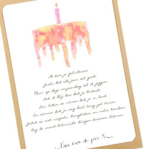 Wenskaart met gedicht Feliciteren