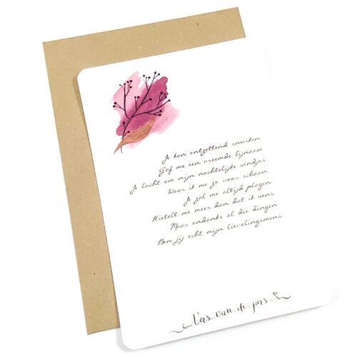 Wenskaart met gedicht Lievelingsmens