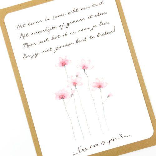 Wenskaart met gedicht Life's a bitch