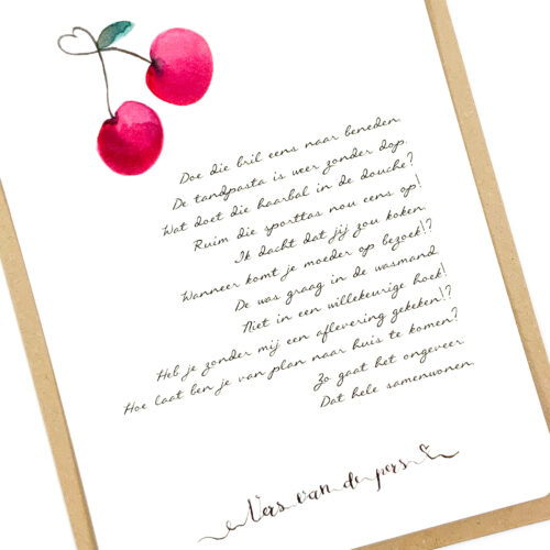Wenskaart met gedicht Samenwonen