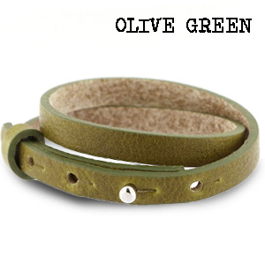 Leren wikkel armband olive green