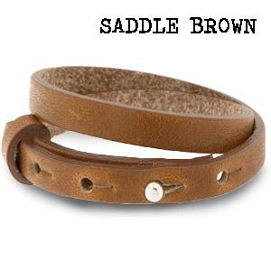 Leren wikkel armband saddle brown
