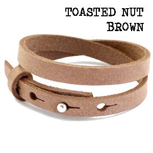 Leren wikkel armband toasted nut brown