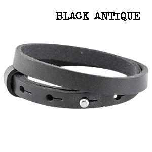 Leren armband black antique
