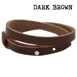 Leren wikkel armband dark brown dubbel