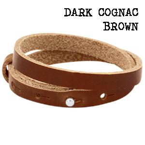 Leren wikkel armband dark cognac brown