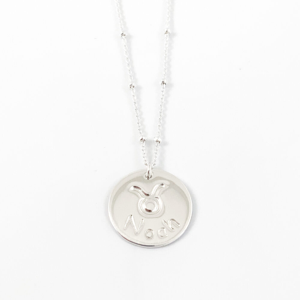 Ketting met naam en sterrenbeeld stier kettinkje 925 zilver horoscoop symbool zodiac sign