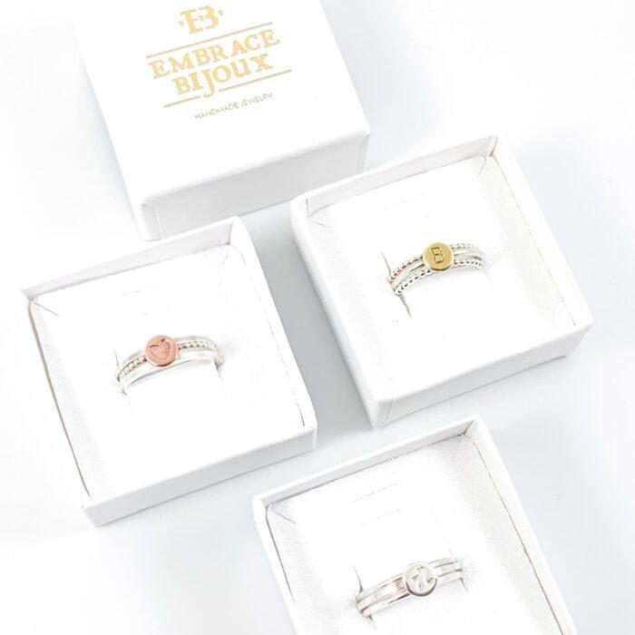 Ring met letter zilver stapelringen met letter 925 zilveren initiaal ringen