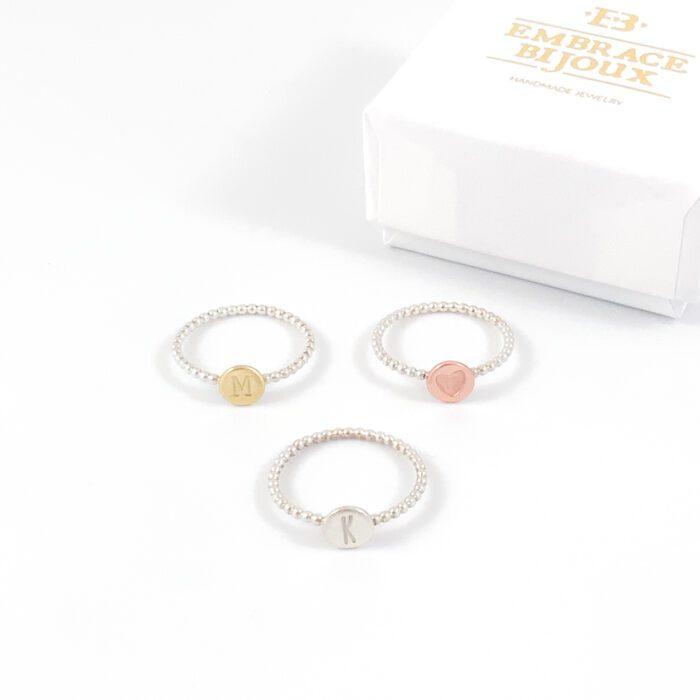 Zilveren ring met letter 'dots' - 925 zilver