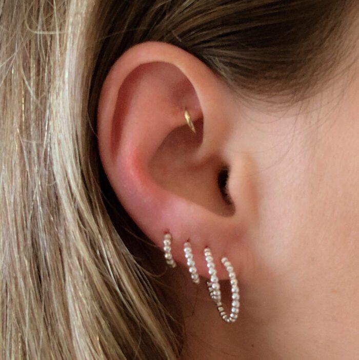 Zilveren oorringen 'dots' - oorbellen 925 zilver - 4 maten
