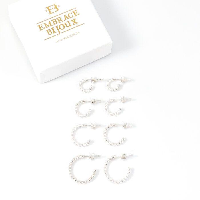 Zilveren oorringen 'dots' - oorbellen 925 zilver - sterling silver hoop earrings - verschillende maten